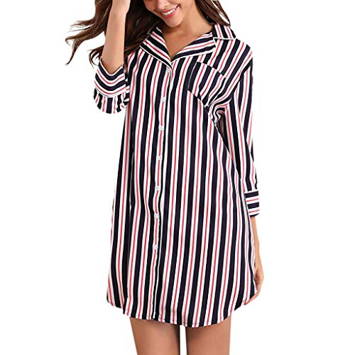 Amphia - Gestreiftes Frauen-T-Shirt mit 7 Ärmeln Pyjamas Pyjamas Dress,Frauen Boyfriend Schlaf Shirt Kleid gestreift Button Down Cotton Nachthemd ()