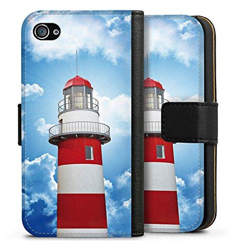 Apple iPhone 6 Tasche Hülle Flip Case Leuchtturm Himmel Wolken Sideflip Tasche schwarz