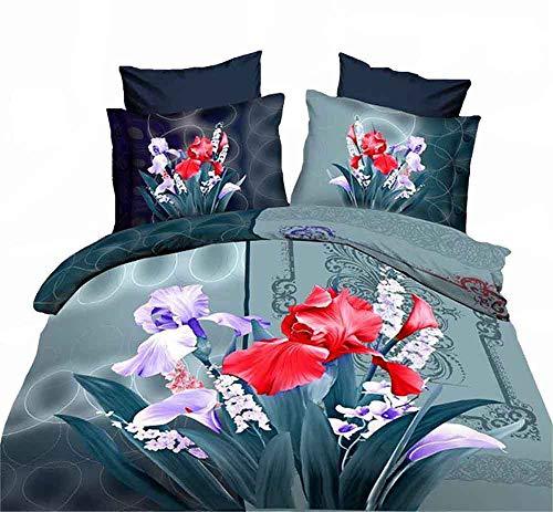 ZQYY 3D-Quilt Cover, Weich und Bequem Bettwäsche-Set von 4, Aktiver Drucken, Bettbezug: 200 * 230cm*1, Kissenbezüge:48 * 74cm*1, Blätter:250 * 250cm*1 (Doppel)