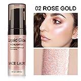 Hilai Surligneur liquide 1Bottle Surligneur Maquillage Concealer Shimmer Face Glow Surligneur Liquide Highlighter Liquide Illuminateur pour Contour 6ml/0.2 OZ(02 Rose Gold)