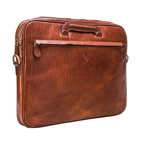 Maxwell Scott Bags® Luxus Aktenmappe aus italienischem Leder in Cognac Braun (Tutti) Cognac