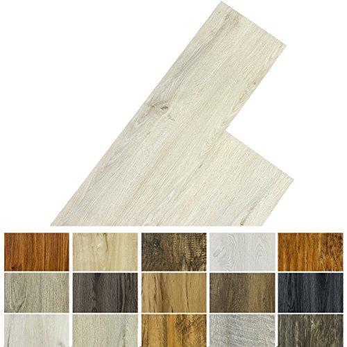 STILISTA Vinyl Laminat Dielen, 15 Dekors wählbar, 5,07m² oder 20m², rutschfest, wasserfest, schwer entflammbar - 5,07m² Eiche gewaschen weiß