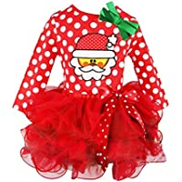 Baby Weihnachten Kleidung Hirolan Kinder Partykleider Tutu Kleider Festliche Mädchenkleider Kleinkind Santa Claus Cocktailkleider Knielang Punkte Drucken Spitze Cupcake Miniröcke Bowknot