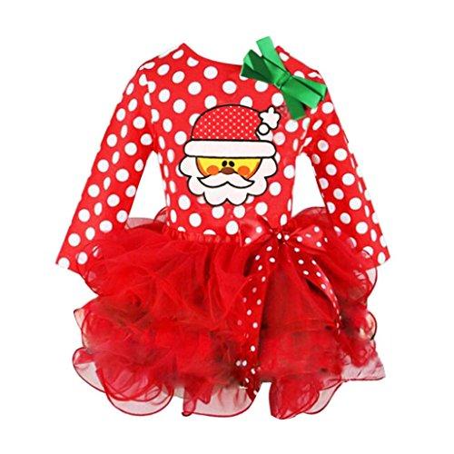 Baby Weihnachten Kleidung Hirolan Kinder Partykleider Tutu Kleider Festliche Mädchenkleider Kleinkind Santa Claus Cocktailkleider Knielang Punkte Drucken Spitze Cupcake Miniröcke Bowknot (Rot, - Cupcake Kostüm Für Kleinkind