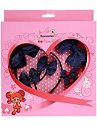 FEOYA - (set de 6)Bebé Niñas Cinta Cabello Banda de Goma con Diseño Flores con pelo Clip Elástica Pajarita Azul Elegante Preciosa con caja de regalo