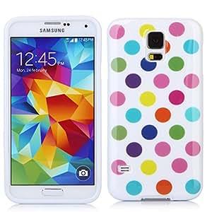 iHarbort® Galaxy S5 Hülle - Stilvoll Silikon Hülle Schutzhülle mit Punkte für Samsung Galaxy S5 SV I9600 (Punkte-Weiß-bunt)