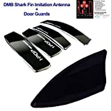 #6: RedClub Black Combo Universal Shark Fin Decorative Vehicle Antenna (DMB Imitation Antenna) + Car Door Guard (Black)