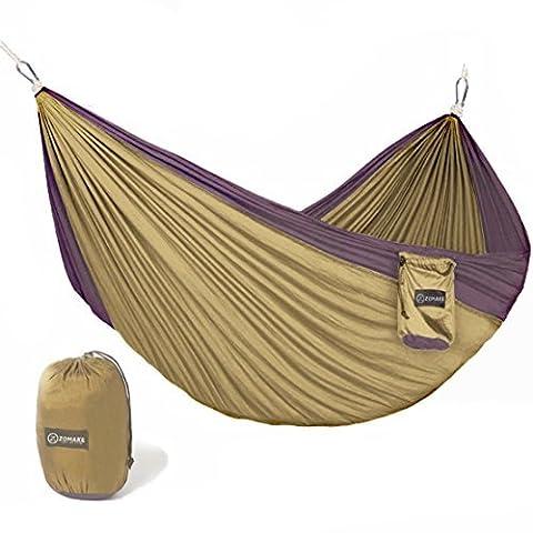 zomake Doppel Camping Hängematte–Portable High Stärke Hängematte, die leicht Mischung Farbe Nylon Stoff Parachute für Outdoor. Hängematte Träger & Edelstahl Karabiner enthalten, blau / (Parachute Stoff Hammock)