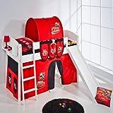 Lilokids Spielbett IDA 4105 Disney Cars-Teilbares Systemhochbett weiß-mit Rutsche und Vorhang Kinderbett, Holz, 208 x 220 x 113 cm