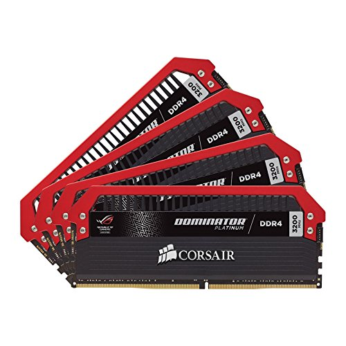 Corsair CMD16GX4M4B3200C16-ROG Dominator Platinum DDR4 16 GB (4 x 4 GB ) 3200 MHz C16 XMP 2.0 Enthusiast Desktop Memory Kit ROG Edition