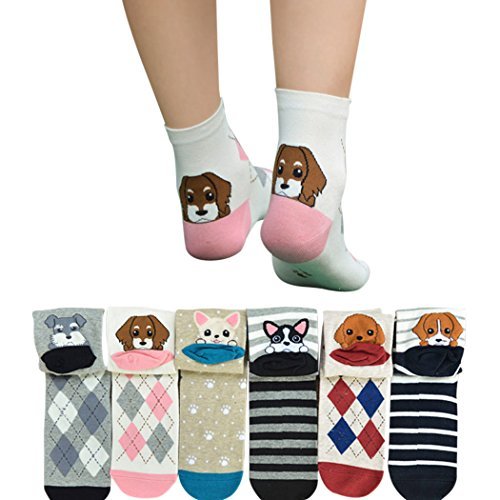 Fascigirl 6 Paia Womens Cotone Carino Cartoon Fantasia Animalier Crew Socks