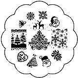 Stamping Schablone Plate W-95 Weihnachten X-mas Eisblume Weihnachtsmann Nailart Nageldesign