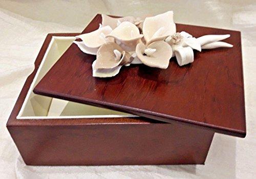 Lanlan scatola portagioie legno fiore calla bomboniere comunione battesimo matrimonio