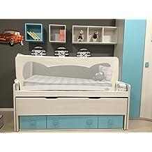 Barrera de cama para bebé, 180 x 65 cm. Modelo en blanco. Barrera de seguridad.