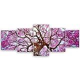 ge Bildet® hochwertiges Leinwandbild XXL - Rosa Lapacho Baum in Pocone - Brasilien - 200 x 80 cm mehrteilig (5 teilig)