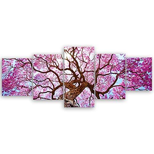 ge Bildet® hochwertiges Leinwandbild XXL Pflanzen Bilder - Rosa Lapacho Baum in Pocone - Brasilien - Natur Baum Pink Lila - 200 x 80 cm mehrteilig (5 teilig) 2206 B