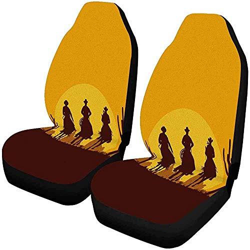 Emiuly Silhouette von DREI Cowboys auf Pferden in der Wüste vorne Autositzbezüge 2er-Set, Autositzbezüge Vordersitze nur Universal Fit (3 Cowboy Silhouette)