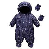 famuka Baby Schneeanzug Jungen Strampler Mädchen Overall Winter Babykleidung (Blau, 3-6 Monate)