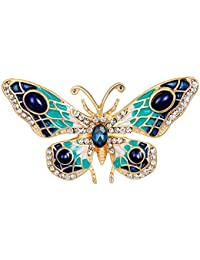 Gudeke Accesorios de la joyería para Las Mujeres Cristal Azul Mariposa  Broche Pinza de Broche de 9cafb857359a
