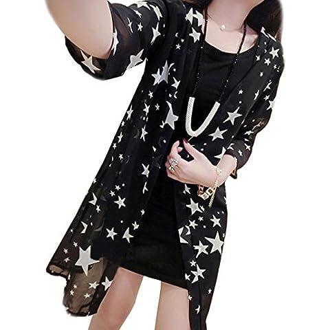 Fortan Donne Stampa shirt kimono Cardigan chiffon supera la camicetta crema solare di copertura scialle up