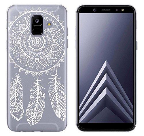 yayago Hülle für Samsung Galaxy A6 [2018] Silikon Schutzhülle Hülle Case Backcover Tattoo Ornament Spring Design transparent Tasche