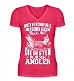 Shirtee Hochwertiges V-Neck Damenshirt - Fischer Angeln Gott erschuf Alle Menschen Gleich Doch Nur die Besten Wurden Angler