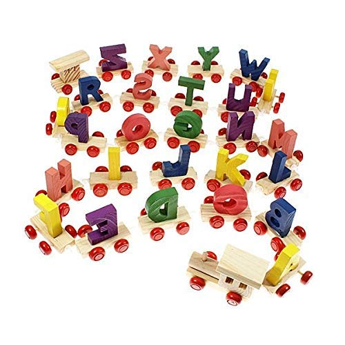 SHY SHY- Wooden A to Z Train Set || Multiple Coloured || 26 Alphabet Blocks with Fine Finish and Quality