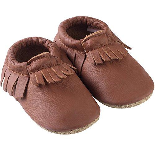 7df543dd47bc7 Tichoups chaussons cuir souple à franges noisette