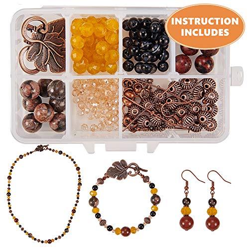 SUNNYCLUE 1 Box DIY 1 Set Schmuck Machen Kit - Perlen Starter-Kits Schmuck Machen Lieferungen für Erwachsene,Mädchen,Jugendliche und Frauen mit Blattverschlüssen,Rotkupfer