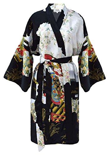 Damen Morgenmantel kimono kurz schwarz Satin M/L