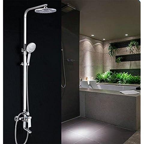 SUN-Sistema de ducha de ba?o de lat¨®n Soild Conjunto de ducha de lujo ajustable de lluvia Set combinado de ducha, cromo