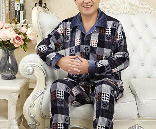 JZX Middle-Aged Couple Pajamas, Female Winter Coral Velvet Middle-Aged Thickened Flannel Home Service Suit,Bleu mâle,L
