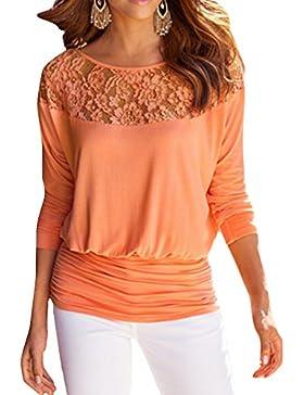 Jusfitsu Donna maglietta manica lunga girocollo allentato pizzo Camicetta T-shirt casuale Tops