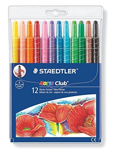 Staedtler Noris Club Wachs-Twister, Wachs-Malstifte, Set mit 12 brillante Farben
