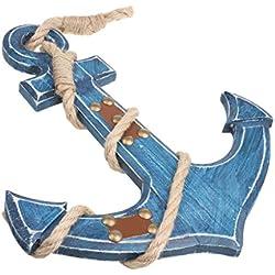 Adorno Hogar Colgante Ancla Barco Náutica Cosecha Madera Decoración Placas Puerta Pared Azules