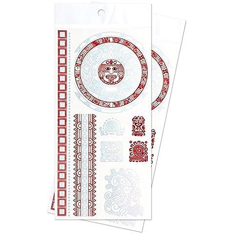 Zooky® Braccialetto Simboli Inca Gioielli Tatuaggi temporanei impermeabili, adesivi metallici per corpo LH-014, set 2 pezzi, Rosso