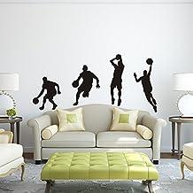 "Vinilo adhesivo baloncesto baloncesto deporte Mural de papel adhesivo decorativo de pared, diseño de decoración de la pared de baloncesto Niños Habitación decoración de pared, vinilo, Custom, 40""x80"""
