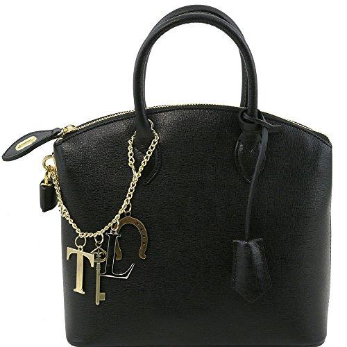 Tuscany Leather - TL KeyLuck - Sac cabas en cuir Saffiano - Petit modèle - Noir
