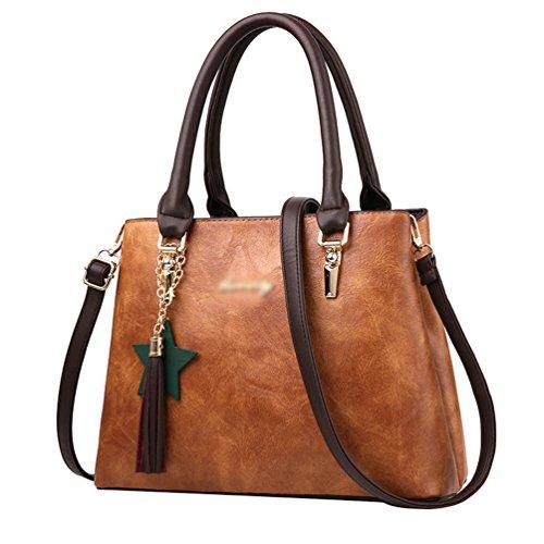 Baymate Donna Vintage Borse A Mano In Pelle Da Donna Borse A Spalla Tote Borsa Tote Bag Giallo