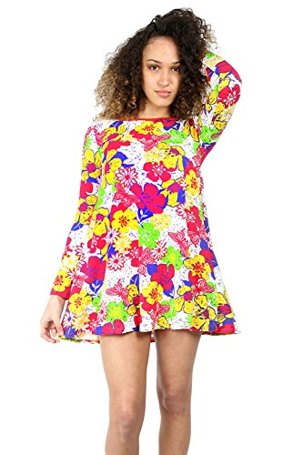Damen Langärmelig Bedruckt Sommer Dehnbar Ausgestellt Skater Top Mini Swing Kleid Floral Creme Rot Gelb