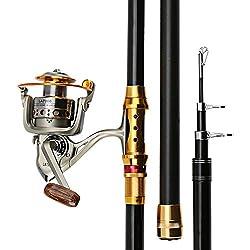 Lnpp Telescopic Fishing Rod & Reel Combo,carbon Fiber Spinning Fishing Reel Gear Pole Set,3.3m