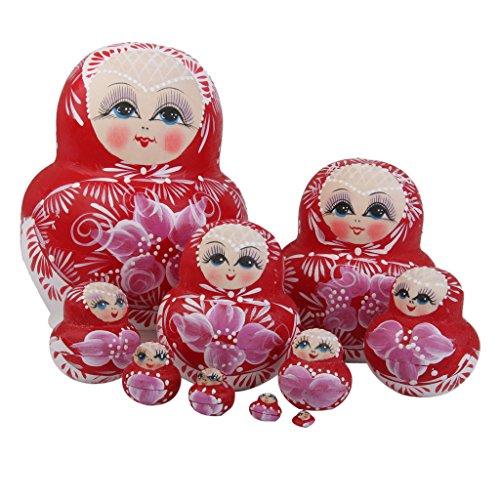 10pcs Muñecas Rusas Matrioska Anidación Flores Pintadas Madera Rojo
