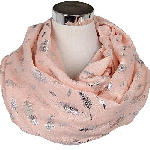 Eaee Damen Schal Glitzer Metallic Folie Feder Gedrückt Lange Weich Wraps Grosse Poncho (Pink+Silber)