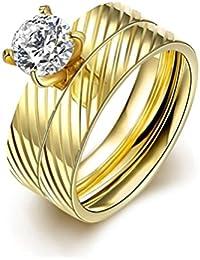 HMILYDYK Anillo de acero inoxidable oro 2 pcs Un Conjunto Circonita Cúbica CZ boda tamaño de