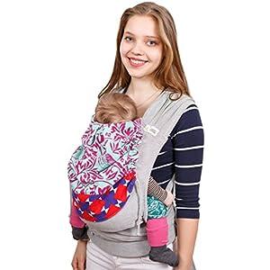Madame Jordan Wrap Conversion Mei Tai 'Delilah' - Tragehilfe ab Geburt bis ca. 2 Jahre, Ergonomische Tragehilfe für Bauch, Rücken / Hüfte mit Gepolstertem Hüftgurt