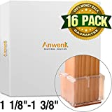"Anwenk Chair Leg Floor Protezioni per sedie Protezioni per gambe Protezioni per pavimenti Piedini per sedie mobili Protezioni per pavimenti | I migliori consigli per piedini per sedie, flessibile in silicone, quadrato, 1 1/8 ""-1 3/8"", trasparente (16 pezzi)"