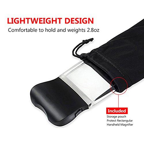 LED 2X großes rechteckiges Leselupe Handlupe mit Licht - 2,3 x 4 randlose Verzerrung-Free-Objektiv für Low Vision, Senioren, Bücher, Seiten, Zeitschriften, Zeitungen und Karten (Groß rechteckig) - 4