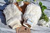 Handschuhe aus Bio-Baumwolle, 50 56 Frühchen, für Kinder, Babys, Fäustlinge, Teddyplüsch, beige creme natur, Bündchen, Mädchen, warm weich