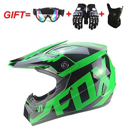 Motorrad Motorrad Motocross mit Helmen & Handschuhen & Brille & Maske, D.O.T Standard Kinder Quad ATV Go Kart Helm,Green,S(55~56CM) (Kinder-go-kart-helm)