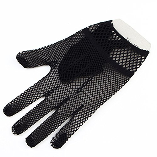 MiDee Full Finger Fishnet Gloves Dancing Prom Ceremonial Wedding Gloves (Black)